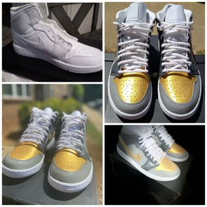 Nike Air Jordan 1 Mid Custom Silver & Gold for Sale in Greensboro, NC