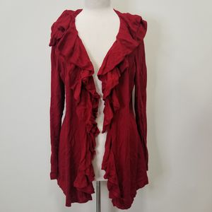 1X Ralph Lauren Red Silk & Cotton Ruffled Cardigan for Sale in Lake Stevens, WA