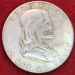 Benjamin Franklin Skull Coin. Tibetan Silver Coin. First $20 Offer Automatically Accepted. Shipped Same Day for Sale in Portland,  OR