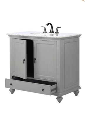 Home Decorators Collection Newport 37 in. W x 21-1/2 in. D Bath Vanity in Pewter with Granite Vanity Top in Grey for Sale in River Grove, IL