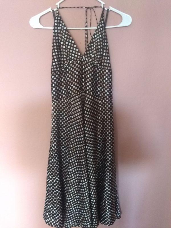 Black white tan dot dress