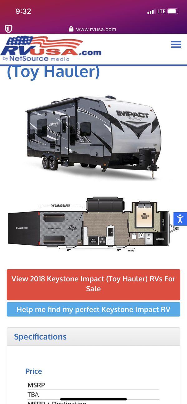 2018 keystone impact toy hauler