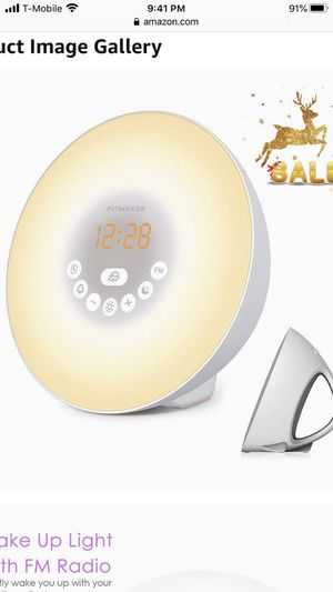 Sunrise Alarm Clock, Wake Up Light with 6 Nature Sounds, FM Radio, Color Light, Bedside Sunrise Simulator (White) for Sale in Palmdale, CA