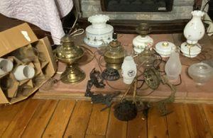 Antique Oil Lamps, Chimneys, Rod Iron Lamp Holder for Sale in GOODLETTSVLLE, TN