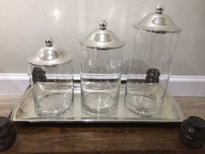 Silver Platter/three glass canisters/silver tops for Sale in Vienna, VA
