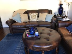 2 leather sofas + ottoman for Sale in Laguna Hills, CA