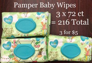 Pampers Baby Wet Wipes (3 x 72 ct = 216 Total) 3 for $5 for Sale in Monterey Park, CA