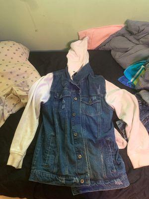 distressed denim jacket L for Sale in Bellevue, WA