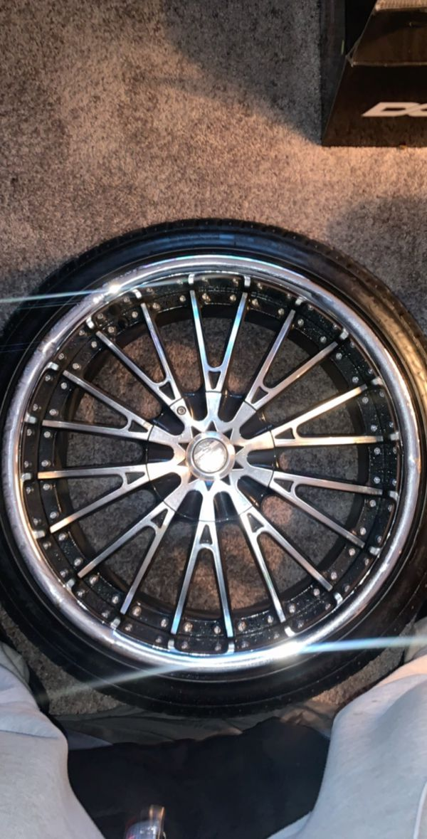 20 inch black and chrome rims