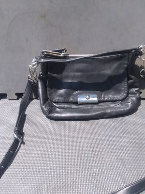 Black leather coach purse w/pink satin lining for Sale in Dillon, CO