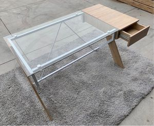 New Home Office Computer Desk Clear Glass Top Desk with Drawer 48x24x30 inches for Sale in Pico Rivera, CA