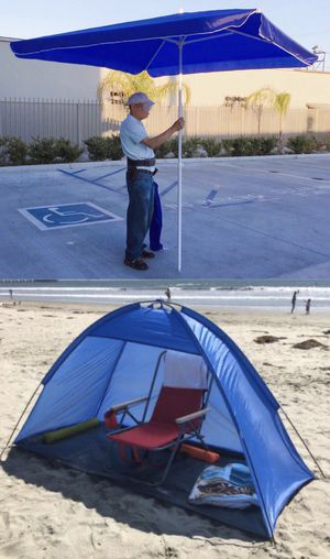 New SET OF 2 ITEMS for $35 7x3 feet beach tent sun shade and 6.5x6.5 feet beach umbrella with carrying bags for Sale in Whittier, CA