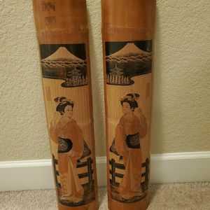 Set of 2 Vintage Oriental Japanese Geisha Women Hand Carved Painted Bamboo Wall Art for Sale in Beaverton, OR