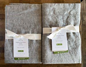 Two Pottery Barn Flagstone Gray Belgian Flax Linen Euro Shams NWTs Retail $150 for Sale in Arlington, VA