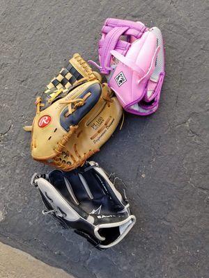 Kids baseball/softball gloves for Sale in Hesperia, CA