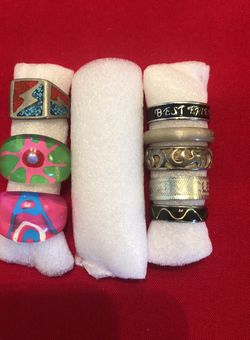 Assorted Rings, Hard Glass, Heavy & Light Metals! for Sale in Colton,  CA