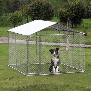 PawHut 10' x 10' x 6' Outdoor Dog Enclosures Chain Link Box Metal Dog Crate House with Cover for Sale in Millington, TN