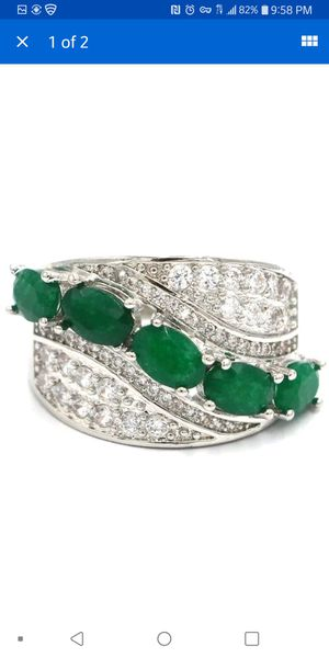 Gorgeous real emerald and created sapphire silver filled ring size 7.75 for Sale in Citrus Heights, CA