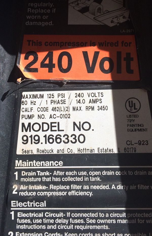 Air Compressor - Craftsman - 6 5 HP 33 Gal 220V/240V 120 PSI for Sale in  Boulder City, NV - OfferUp