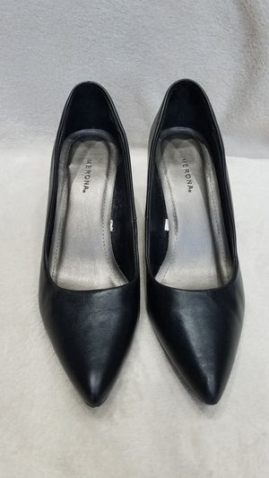 Women's Merona black leather high heel shoes, size 9 for Sale in Ithaca, NY