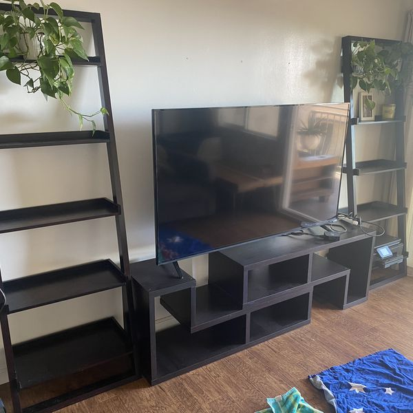 Crate And Barrell Media Stand and Bookshelves