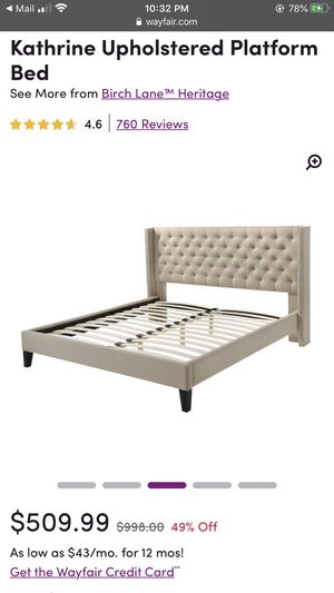 Queen sized beige bed frame/headboard. Like new for Sale in New York, NY