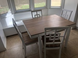 White and tan wood kitchen table set for Sale in Los Angeles, CA