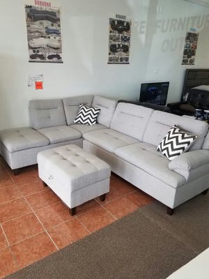 [F6589] 3-PCS SECTIONAL POLYFIBER GREY W/ OTTOMAN [ONLY $50 DOWN AND 90 DAYS TO PAY SAME AS CASH] for Sale in Irving, TX