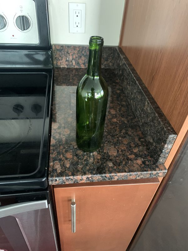 Green tinted wine shaped glasses