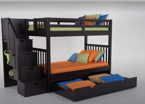 Kids bunk bed twin over twin storage stairs for Sale in Brooklyn, NY