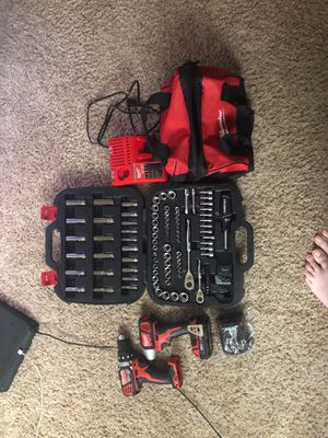 Milwaukee impact and drill set plus new socket set for Sale in Vancouver, WA