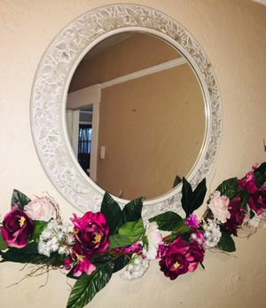 Decorative Mirror with Artificial Flowers for Sale in San Diego, CA