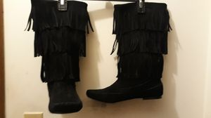 Genuine Blk Suede Fringe Boots. In Excellent Condition. Sz.8. $40 or best offer for Sale in Aurora, IL