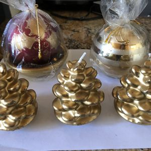 Christmas Candles Set Of 5 for Sale in Englewood, CO