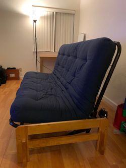 Blue futon sofa couch for Sale in Cupertino,  CA