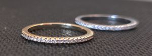 Sterling Silver and 18k Plated White Sapphire Stackable Rings, Size 7 for Sale in Wichita, KS