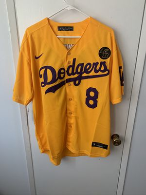 Kobe Bryant yellow and purple Los Angeles dodgers tribute jersey for Sale in Los Angeles, CA