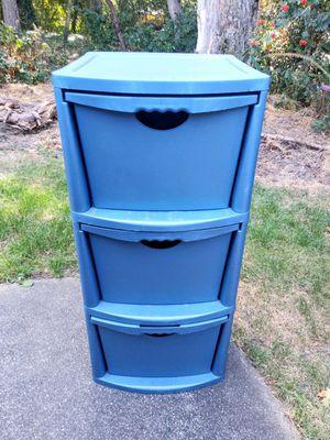 Steralite 3 Drawer Plastic Storage Bin (Blue) for Sale in Tacoma, WA