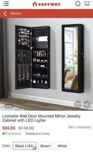 Mirror jewelry cabinet with LED lights for Sale in San Diego, CA