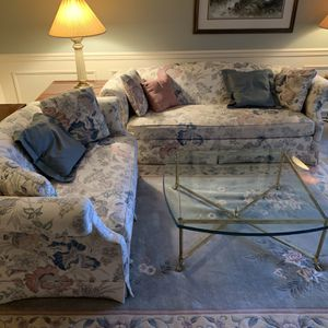Couch + Love Seat + Brass/Heavy Glass Table for Sale in Sammamish, WA