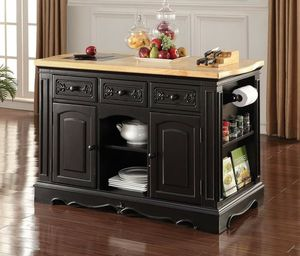 Black Wood Kitchen Cabinet with Granite Cutting Board ISLAND for Sale in San Diego, CA