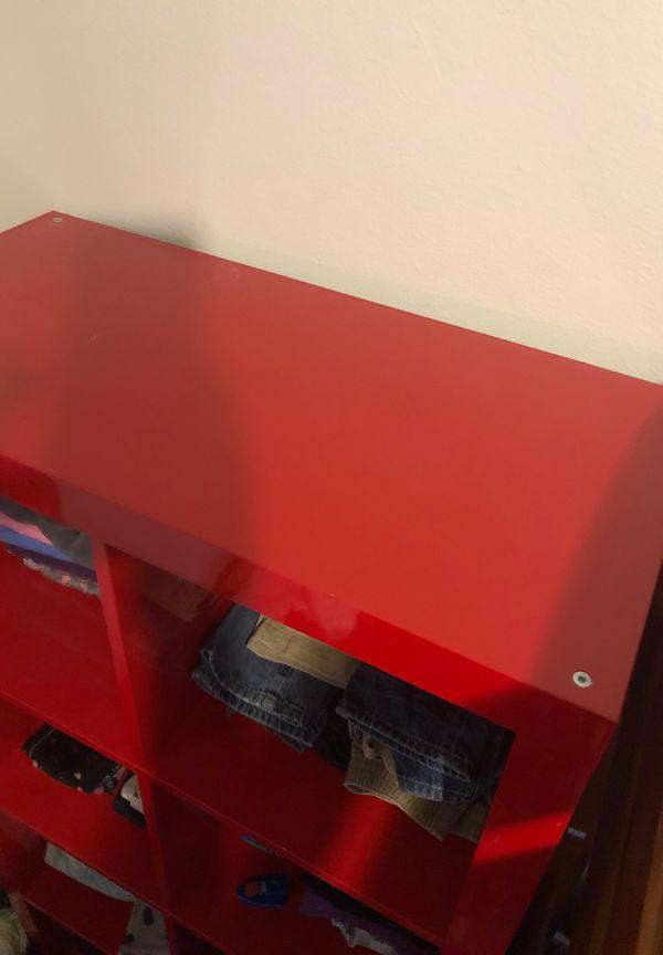 Red glossy shelf