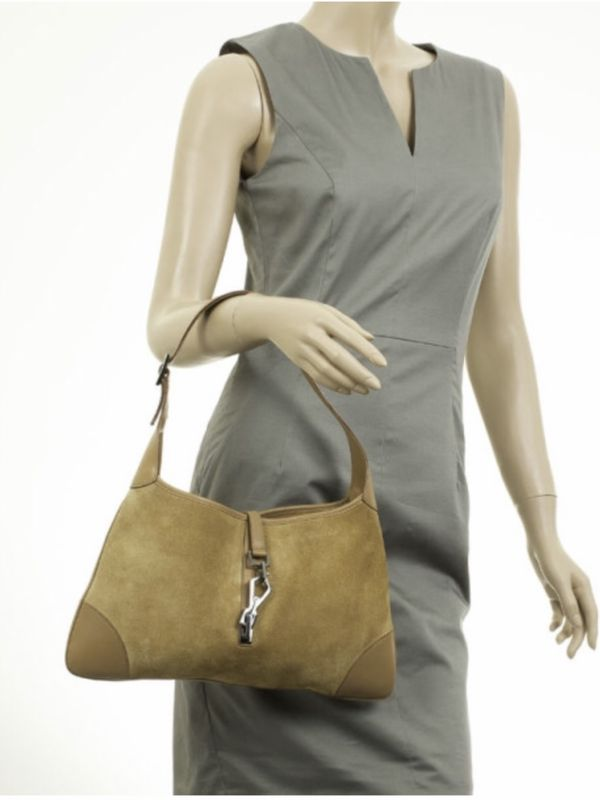 VINTAGE GUCCI BEIGE SUEDE & LEATHER JACKE BAG