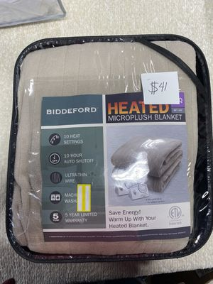 Biddeford Blankets Solid Microplush Electric Blanket with Ten Heat Settings and Ten Hour Auto Shutoff, Full / Queen, Beige🔥🔥 for Sale in Houston, TX