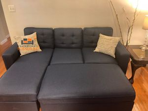 Brand New Navy Blue Linen Sectional Sofa Couch + Ottoman for Sale in Silver Spring, MD
