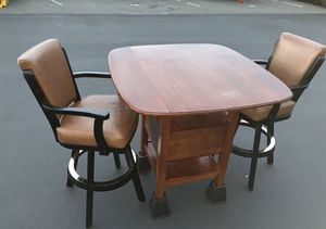 Pair of Bar Stool Chairs & Wooden Table Set for Sale in Granite Falls, WA