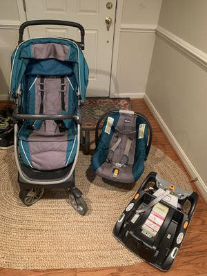 Chicco Bravo Trio Travel System, Lake- stroller, car seat and base for Sale in Fairfax, VA