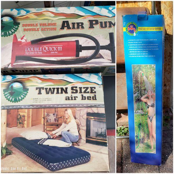 twin size air mattress, pump, and outdoor shower, New