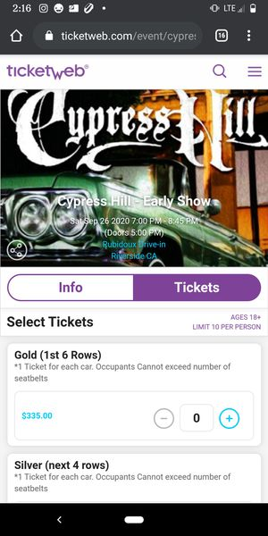 Cypress Hill - Early Show atRubidoux Drive-in Silver Ticket for Sale in Riverside, CA