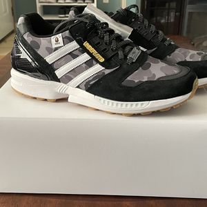 Brand New Adidas x A Bathing Ape (Bape) x Undefeated ZX 8000 Black Colorway Size 9.5 US Mens for Sale in Marysville, WA